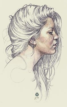"""Alicia"" - Oriol Angrill Jordà Oriol Angrill Jordà, line sketch, 2013 {female head profile woman face portrait drawing #loveart} oriolangrill.com"