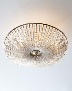 Beaded Crystal Six-Light Semi-Flush Ceiling Fixture, Clear - John-Richard Collection
