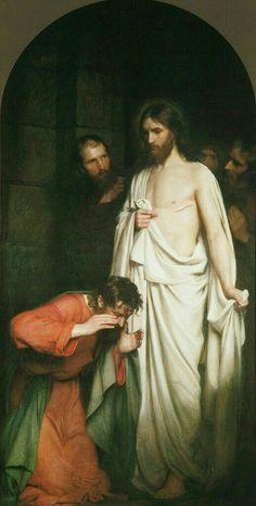 Philip De Vere presents Doubting Thomas by Carl Bloch 1881 oil on canvas 251 x 120 cms Ugerløse Kirke Ugerløse Denmark