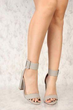 8a92a3aa2c2 Sexy Grey Single Sole Chunky Heels Single Sole Nubuck  Hothighheels High Heel  Pumps