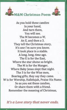 M&M Christmas story. What Christ-mas really is about. Christmas Poems, Christmas Program, 12 Days Of Christmas, A Christmas Story, Christmas Projects, Christmas Traditions, Holiday Crafts, Christmas Holidays, Christmas Decorations