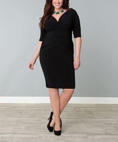 Another great find on #zulily! Black Wrap Victoria Sheath Dress - Plus by KIYONNA #zulilyfinds