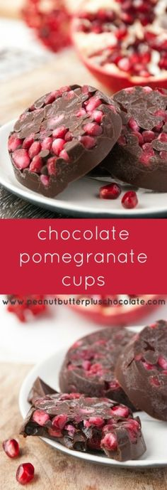3-Ingredient Healthy Chocolate Pomegranate Cups made Sugar Free and Vegan OPTION