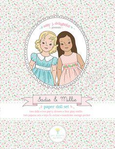 Printable PAPER DOLL Set - Digital File Instant Download- Sadie & Millie, clothes, toys, wardrobe GIFT Set