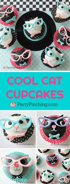 Cool cat cupcakes with cat eye glasses, fifties cupcakes retro party ideas for sock hop soda fountain bash, cute kitty cat lady cupcakes Cat Cupcakes, Cupcake Party, Cupcake Cakes, Cupcake Ideas, Cup Cakes, Birthday Cakes For Men, Cat Birthday, Birthday Cupcakes, Wedding Cupcakes