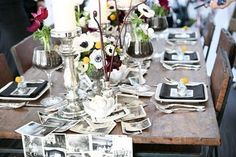 Totally love this: a Polaroid or vintage photograph table runner. Lovely for weddings or other sentimental events!