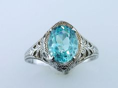 Vintage Antique 1.50ct Aquamarine 14K White Gold Deco Engagement Cocktail Ring