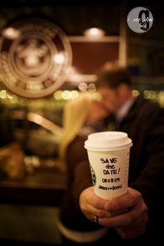 hahahah i would so do this save the date, after being proposed to at starbs!! hahaha