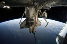 Shuttle Atlantis at the space station on its last mission.