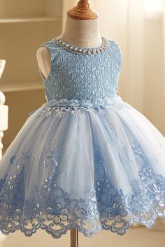 e67836ecfd Beaded Embroidery Lace Flower Girl Dresses Sleeveless Wedding Party Tutu  Kids Ball Gown Children Clothes Baby Blue