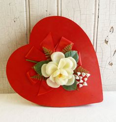 Satin Covered Heart Candy Box with White Flowers - Valentine's Day Gift - Whitman Chocolates - Valentine Collectable on Etsy, $17.00