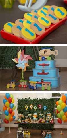 Festa Infantil - Brincadeira de criança - Por Cristina Boross - Blog Festa de menino Baby Boy Birthday, Boy Birthday Parties, Birthday Balloons, Birthday Ideas, Kite Party, Cloud Party, Bento, Transportation Party, Vintage Party