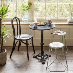 Marble Bistro Table, Round Marble Table, Round Tables, Bistro Chairs, Cafe Chairs, Bistro Tables, Room Chairs, Ikea Chairs, Iron Coffee Table
