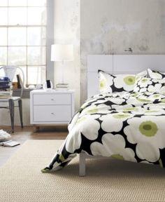 Marimekko Unikko Black Bed Linens in All Decorative Bedding Stylish Beds, Stylish Bedroom, Kids Sheet Sets, Black Duvet Cover, Black Bed Linen, Linen Bedding, Bed Linens, Home Bedroom, Bedrooms