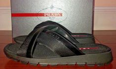 a5fd4ab60b0b1d Mens Prada Black Leather And Cloth Crossover Sandals Flip Flops Size 10   PRADA  FlipFlops