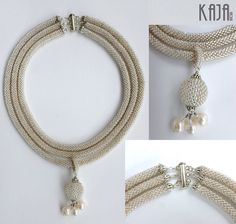 Silver lined crystal with fresh water pearls crochet necklace