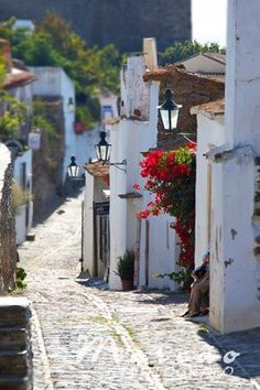 wandering down a street in Portugal
