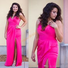 2016 Fashion Formal Evening Dresses With Spaghetti Neck And High Side Split Long Draped Fuchsia Bridesmaid Gowns Under 100 Evening Maxi Dresses Online Fashion Evening Dresses From Uniquebridalboutique, $74.33| Dhgate.Com