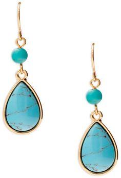 Lauren Ralph Lauren Turquoise Stone Double-Drop Earrings