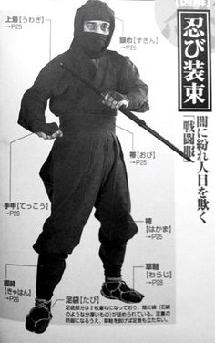 Shinobi Shozoku Gi - Another uniform commonly associated with Ninjustu is the Shinobi Shozoku (忍び装束). This uniform consists of loose fitting pants with double ties that fasten at the ankles, knees and waist. The jacket is also loose fitting, with overlapping lapels similar to the traditional keikogi. The jacket tucks into the pants and the pants are sometimes tucked into long tabi which come up the knee. Shin protection called kyahan and hand protectors called tekkou are warn over the…