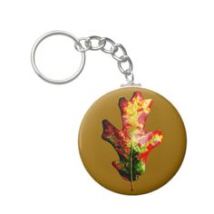 Colorful Autumn Oak Leaf Keychain