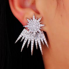Nessa Silver Cz Flower Ear Jacket. Elegant Double Side Earrings Ear Jacket. Cz Spike Ear Jacket In Silver. Rhodium Plated. Earrings have three Flowers. Earring Jackets with Cubic Zirconia. Wear The Stud Alone or with the Ornamental Back Earring.  Prong set stones 18k Platinum Plating