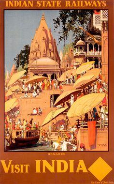 Indian State Railways - Benares  - Vintage Travel poster India