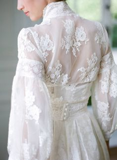 High neck long sleeve lace and silk wedding dress by Joanne Fleming Design, image by Anna Grinets wedding dresses elegant Elegant French Chateau Wedding Inspiration Long Sleeve Wedding Dress Dresses Elegant, Modest Wedding Dresses, Elegant Wedding Dress, Bridal Dresses, Vintage Dresses, Wedding Gowns, Wedding Shoot, Lace Wedding, French Wedding Dress