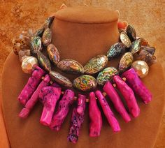 Coral Pink Chunky Jewelry | Pink Purple Branch BIG Coral Necklace Agate Silver SEA Opal Abalone ...