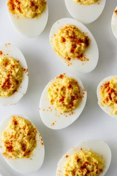 Deviled eggs are hard boiled eggs where the yolk is mixed with mayonnaise, mustard, vinegar, salt and pepper. A little sprinkle of paprika on top helps make these the best deviled eggs recipe. Eggs BEST Deviled Eggs Recipe - How to Make Deviled Eggs Devilled Eggs Recipe Best, Best Deviled Eggs, Deviled Eggs Recipe With Vinegar, Classic Deviled Eggs, Hard Boiled Eggs Recipe, Healthy Deviled Eggs, Perfect Deviled Eggs, Egg Recipes, Appetizer Recipes