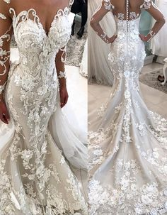 a3cbafdcc9e 2018 Detachable Train Long Sleeves Scoop Mermaid Wedding Dresses With  Applique Tulle  DetachableTrain  LongSleeves