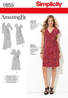 Misses and Plus Sizes Amazing Fit Knit Dress Simplicity Pattern 1653.