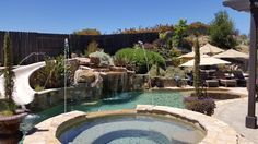 Backyard Water Feature Pool Slide Backyard Water Feature, Pool Slides, Water Features, Pools, Outdoor Decor, Home Decor, Water Sources, Decoration Home, Swimming Pools