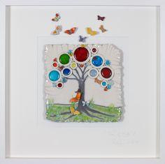 Tree of Life with butterflies Lrg – Rebeka Kahn Artwear Altered Books, Tree Of Life, Clay Art, Butterflies, Greeting Cards, Barn, Ocean, Craft Ideas, Journal