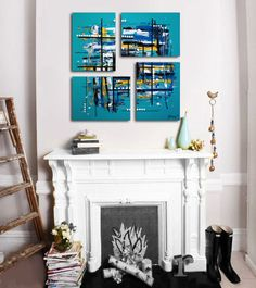 """Original 4 piece abstract painting. 26x26""""."""