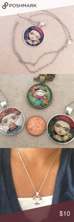 """$5 Frida Kahlo pendant necklace Adorable Frida Kahlo cabochon pendant necklace. Chain measures approx. 18"""". Silver colored chain (alloy). Add this necklace to any bundle and get it for $5. Just make an offer reflecting the price. Anything lower than that will be countered to the correct price. Jewelry Necklaces"""