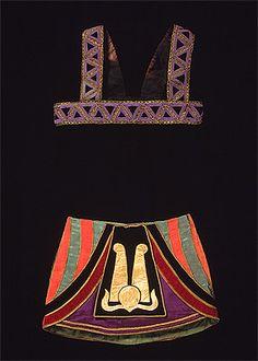 Sonia DELAUNAY, designer (Ukraine 1885 – France 1979).   Costume for Amoun 1918–30's, Ballets Russes,  chest strap: cotton velveteen, acetate, linen, metallic braid; skirt: cotton, acetate, leather, silk velvet, silk, metallic braid.