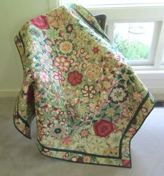 Quilted Lap Throw Kaleidoscope Quilt in Red and Green Floral Quilt by ISewTotes on Etsy