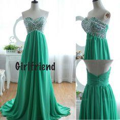 Girlfriend Prom Dress · Amazing green chiffon sweep train prom dress / evening dress · Girls Prom Dresses on Storenvy