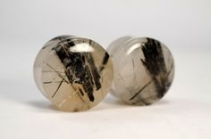 green rutilated quartz stone plugs by heart on sleeve