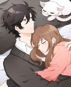 Immagine di anime girl, cat, and couple