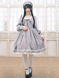 Lolitashow Sweet Lolita Dress OP Grey Lolita Dress Sailor Cotton Blend Pleated Flare Lolita Dress Sailor Dress, Sailor Outfits, Cute Outfits, Harajuku Fashion, Lolita Fashion, Kawaii Fashion, Cute Fashion, Fashion Outfits, Lolita Kleid