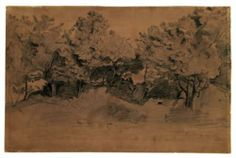 Landscape of Royat, study of trees - Camille Corot