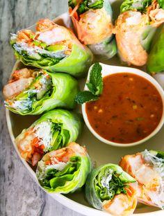 Shrimp Tempura Summer Rolls with Garlic and Ginger Tahini Sauce - CarnalDish Rice Paper Wraps, Rice Paper Rolls, Tempura Recipe, Shrimp Tempura, Different Vegetables, Fresh Vegetables, Veggies, Asian Recipes, Healthy Recipes
