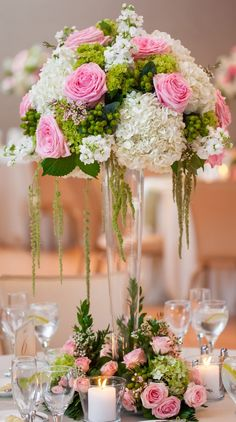 Hydrangea and rose tall centerpiece. Green, ivory, and pink. Morton Arboretum wedding. Flowers by Frank. Just Love Me {Photography + Design}