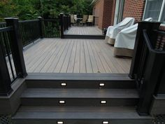 Recently completed this x upper deck with a x octagon. The upper deck has one step down to a x lower deck with steps to grade. Deck Stairs, Deck Railings, Deck Furniture Layout, Deck Colors, Deck Makeover, Deck Lighting, Lighting Ideas, Backyard Patio Designs, Diy Deck