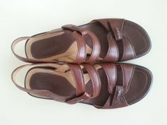 Womens ECCO Size 39 (US 8)  Brown Strappy Sandals Shoes Velcro #ECCO #AnkleStrap