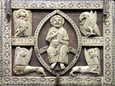 13th century Cluniac ivory carving of Christ in Majesty surrounded by the creatures of the tetramorph