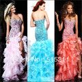 High Low Style Crystal Sweetheart Bodice Organza Ruffles Orange Pink Ice Blue Front Short Long Back Prom Dress Party Gowns 2014