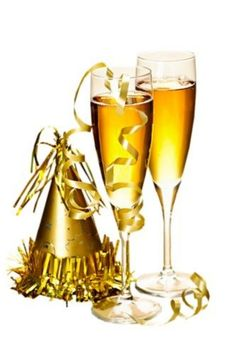 Champagne and New Years party decorations. Two full champagne flutes with party , Champagne Images, Champagne Flutes, Champagne Toast, New Year's Eve Celebrations, New Year Celebration, Happy New Year Greetings, Birthday Greetings, Happy Birthday, Xmas